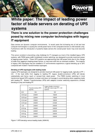 White paper:  The impact of leading power factor of blade servers on derating of UPS systems