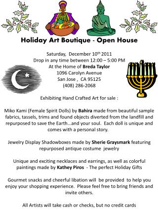 Holiday Art  Boutique -  Open  House Saturday,   December  10 th  2011