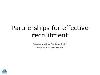 Partnerships for effective recruitment