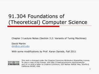 91.304 Foundations of (Theoretical) Computer Science
