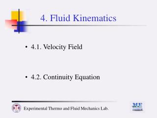 4. Fluid Kinematics