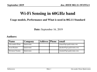 Wi-Fi Sensing in 60GHz band Usage models, Performance and What is need in 802.11 Standard