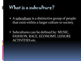 What is a subculture?