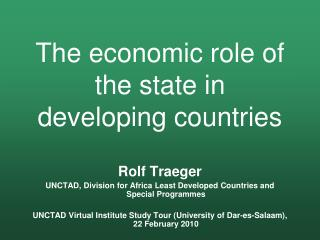 The economic role of the state in developing countries
