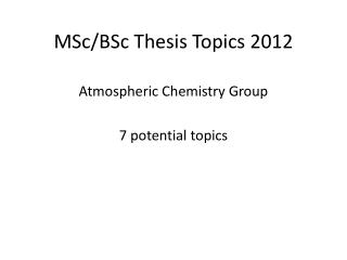 MSc / BSc  Thesis Topics 2012