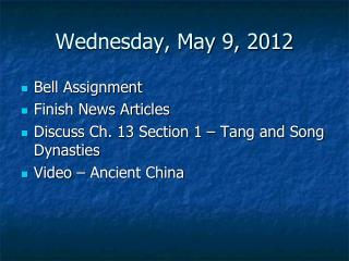 Wednesday, May 9, 2012