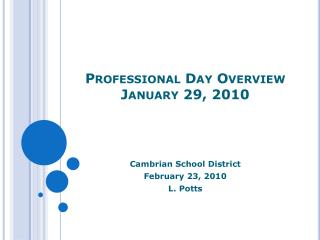 Professional Day Overview January 29, 2010