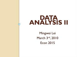Data  Analysis II