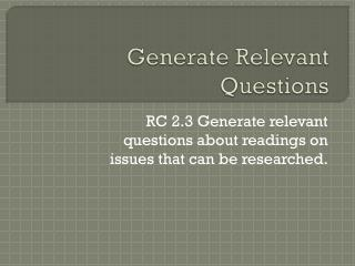 Generate Relevant Questions