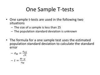 One Sample T-tests