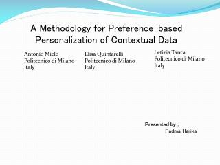 A Methodology for Preference-based Personalization of Contextual Data