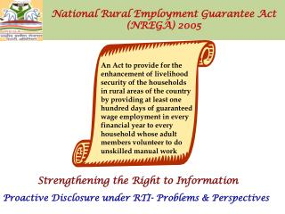National Rural Employment Guarantee Act  (NREGA) 2005