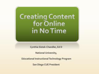 Creating Content for Online  in No Time