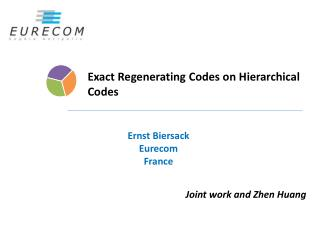 Exact Regenerating Codes on Hierarchical  Codes