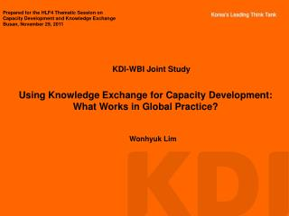 Using Knowledge Exchange for Capacity Development: What Works in Global Practice?