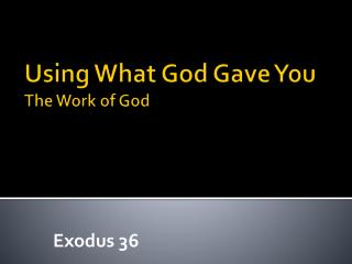 Using What God Gave You The Work of God