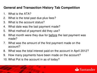 General and Transaction History Tab Competition