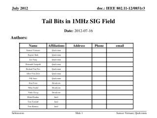 Tail Bits in 1MHz SIG Field
