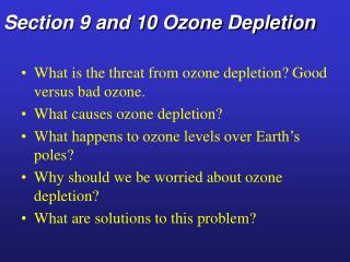 Section 9 and 10 Ozone Depletion