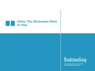 China: The US Investor Point of View