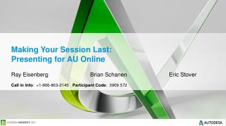 Making Your Session Last: Presenting for AU Online