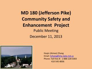 MD 180 (Jefferson Pike)  Community Safety and Enhancement  Project
