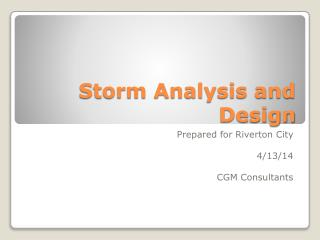 Storm Analysis and Design