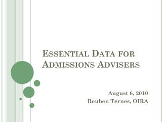 Essential Data for Admissions  Advisers