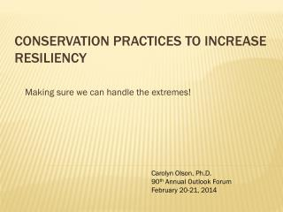 Conservation Practices to Increase Resiliency