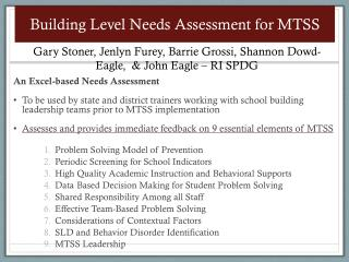 Building Level Needs Assessment for MTSS
