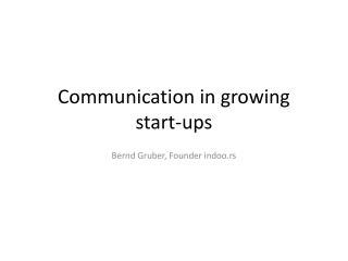 Communication in growing  start-ups