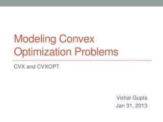 Modeling Convex Optimization Problems