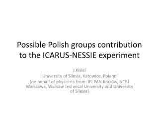 Possible Polish groups contribution to the ICARUS-NESSIE experiment