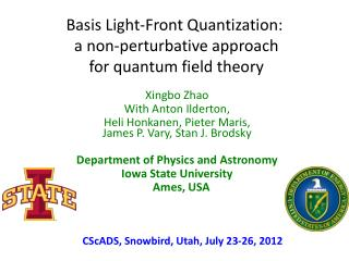 Basis Light-Front Quantization:  a non- perturbative  approach  for quantum field theory