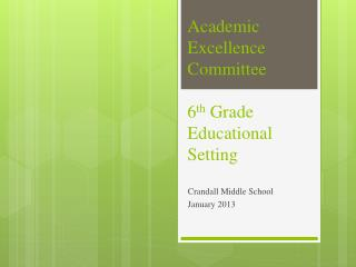 Academic Excellence Committee 6 th  Grade Educational Setting