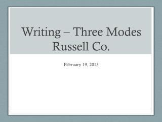 Writing – Three Modes Russell Co.