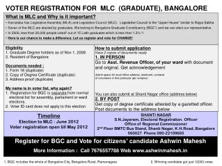Eligibility 1. Graduate Degree holders as of Nov 1,  2008 2. Resident of Bangalore