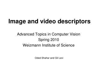 Image and video descriptors