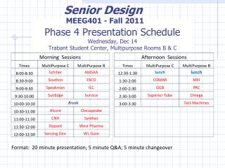 Phase 4 Presentation Schedule Wednesday, Dec 14 Trabant  Student Center, Multipurpose Rooms B & C