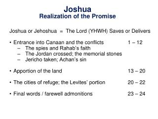 Joshua Realization of the Promise