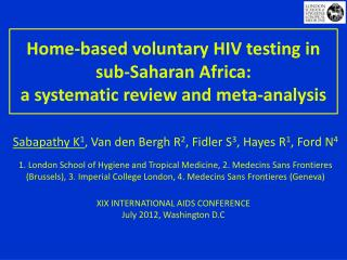 Home-based voluntary HIV testing in sub-Saharan Africa:  a systematic review and meta-analysis