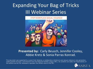 Expanding Your Bag of Tricks III Webinar Series