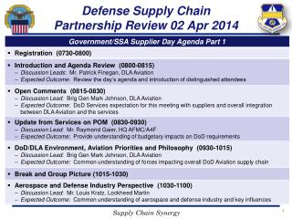 Defense  Supply  Chain  Partnership Review 02 Apr 2014