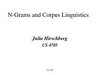 N-Grams and Corpus Linguistics