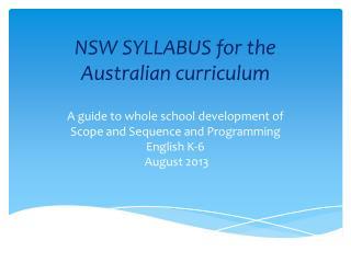 NSW SYLLABUS for the Australian curriculum