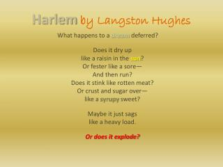 Harlem by Langston Hughes