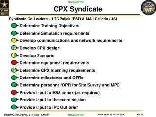Syndicate  Co-Leaders  –  LTC  Paljak  (EST) & MAJ Collado (US ) Determine  Training Objectives