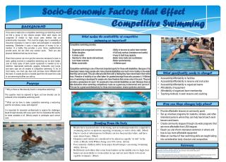 Socio-Economic Factors that Effect  																													Competitive Swimming