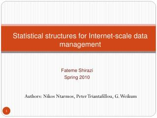 Statistical structures for Internet-scale data management
