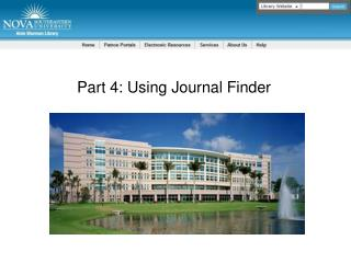 Part  4:  Using Journal Finder